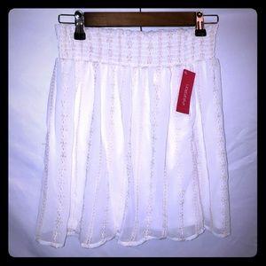 Xhileration Sz Medium Cream Embroidered Boho Skirt